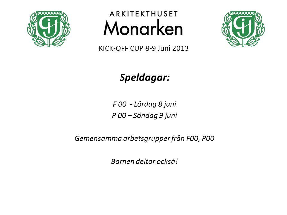 KICK-OFF CUP 8-9 Juni 2013 Speldagar: F 00 - Lördag 8 juni P 00 – Söndag 9 juni Gemensamma arbetsgrupper från F00, P00 Barnen deltar också!