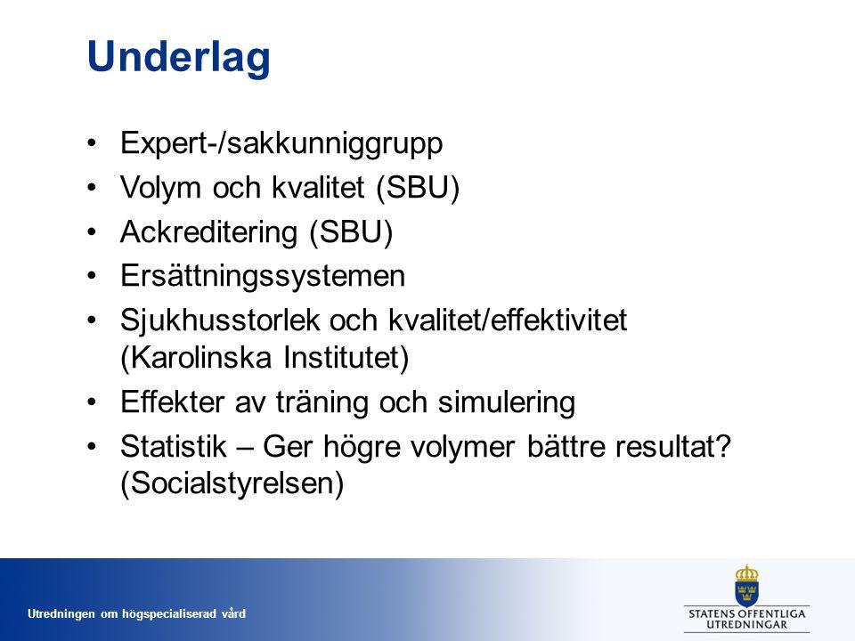 Utredningen om högspecialiserad vård Underlag Expert-/sakkunniggrupp Volym och kvalitet (SBU) Ackreditering (SBU) Ersättningssystemen Sjukhusstorlek och kvalitet/effektivitet (Karolinska Institutet) Effekter av träning och simulering Statistik – Ger högre volymer bättre resultat.