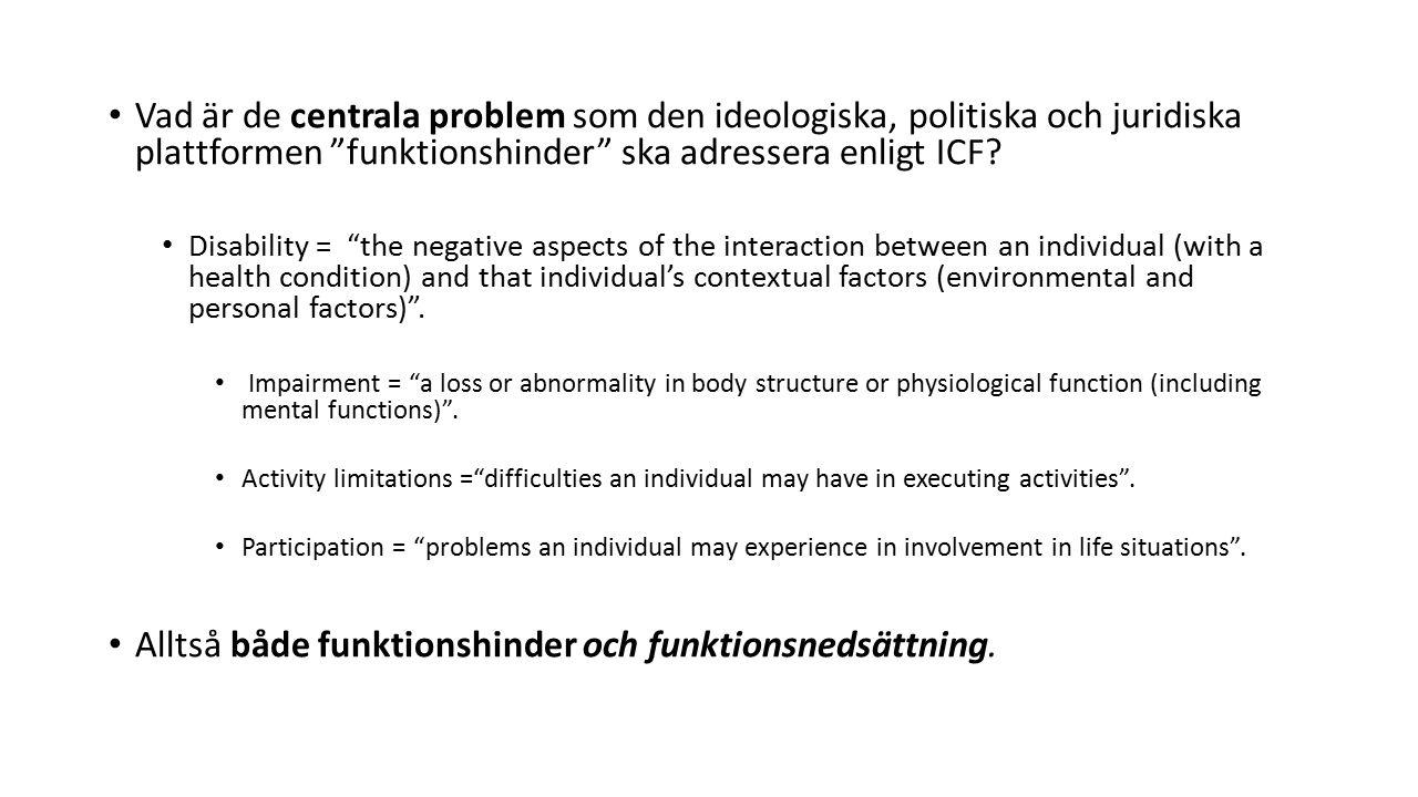 Vad är de centrala problem som den ideologiska, politiska och juridiska plattformen funktionshinder ska adressera enligt ICF.
