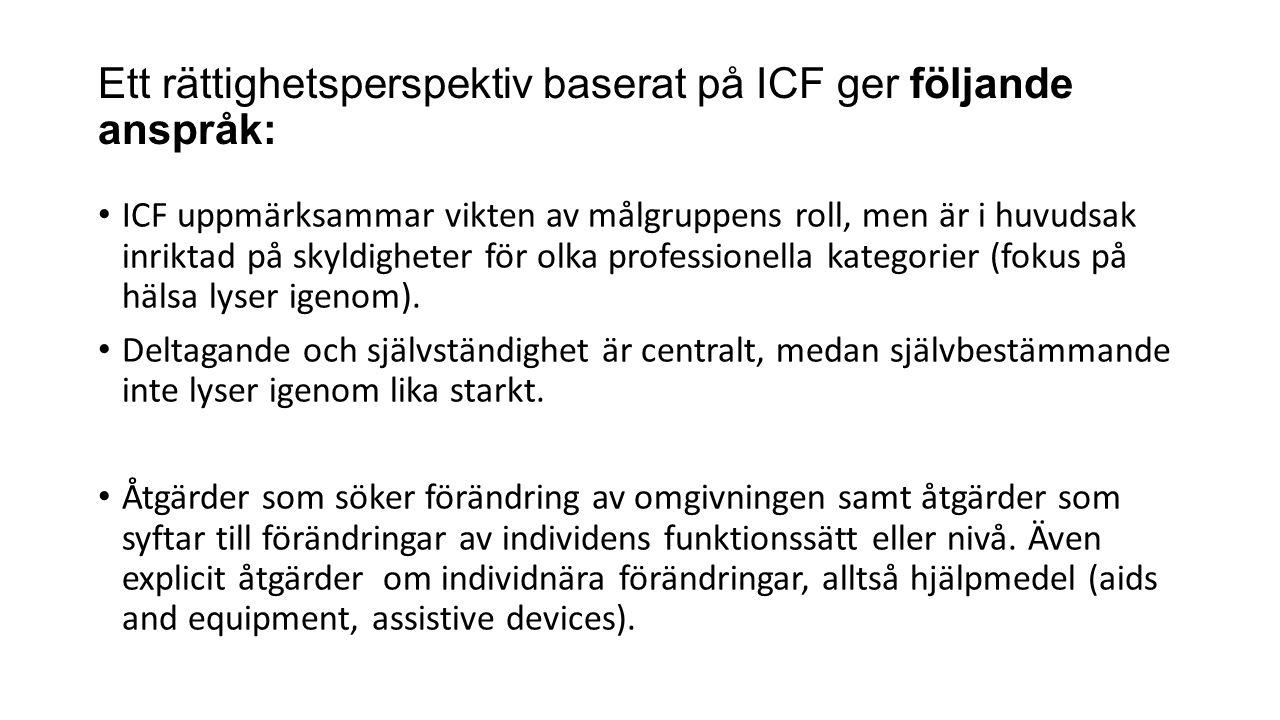 Ett rättighetsperspektiv baserat på ICF ger följande anspråk: ICF uppmärksammar vikten av målgruppens roll, men är i huvudsak inriktad på skyldigheter för olka professionella kategorier (fokus på hälsa lyser igenom).