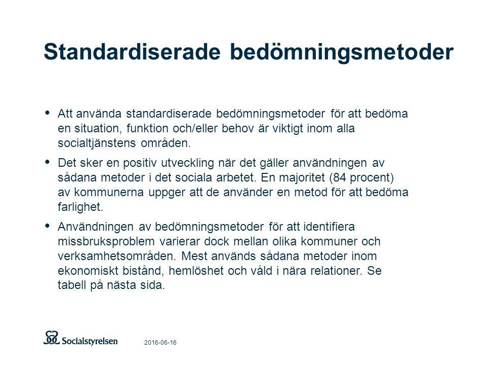 Standardiserade bedömningsmetoder 2016-06-16 Att använda standardiserade bedömningsmetoder för att bedöma en situation, funktion och/eller behov är viktigt inom alla socialtjänstens områden.