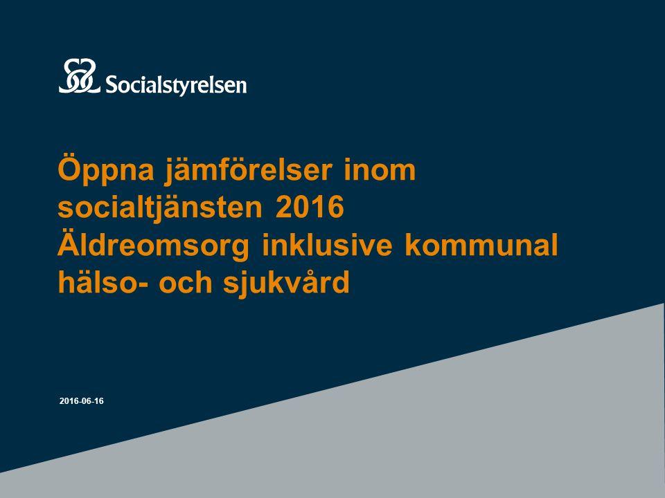 Nytt för öppna jämförelser 2016 – gemensam insamling 2016-06-16 Årets insamling har genomförts genom en samlad webbenkät för ekonomiskt bistånd, hemlöshet och utestängning från bostadsmarknaden, missbruks och beroendevården, social barn- och ungdomsvård, socialtjänstens krisberedskap, stöd till personer med funktionsnedsättning (LSS och socialpsykiatri), våld i nära relationer och äldre.