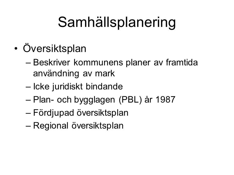 Samhällsplanering Översiktsplan –Beskriver kommunens planer av framtida användning av mark –Icke juridiskt bindande –Plan- och bygglagen (PBL) år 1987