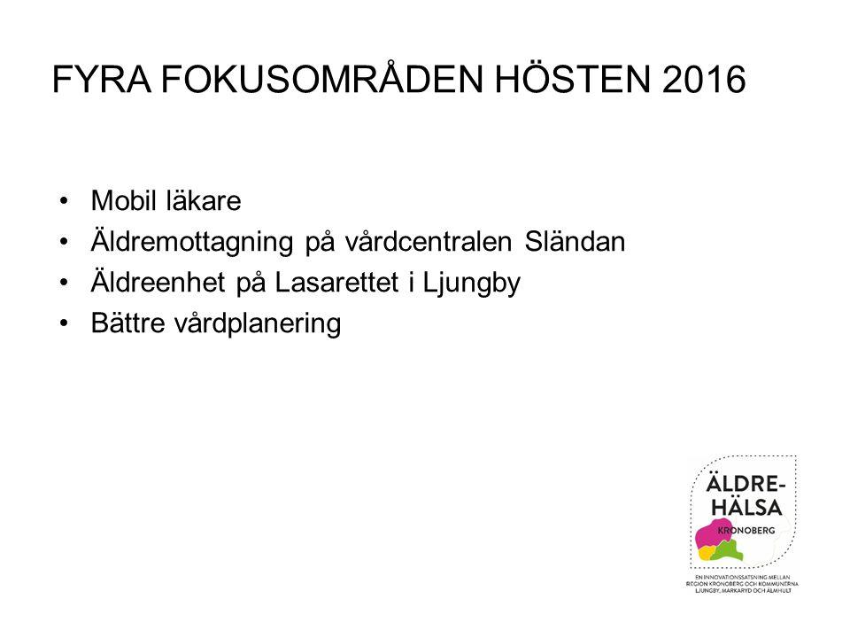 FYRA FOKUSOMRÅDEN HÖSTEN 2016 Mobil läkare Äldremottagning på vårdcentralen Sländan Äldreenhet på Lasarettet i Ljungby Bättre vårdplanering