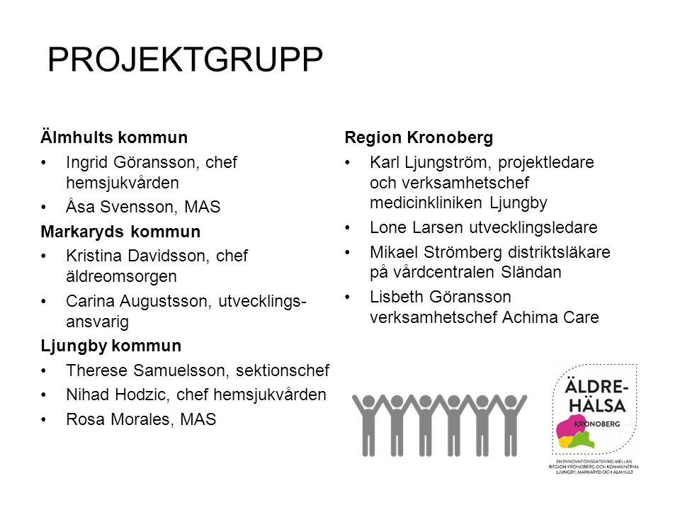 PROJEKTGRUPP Region Kronoberg Karl Ljungström, projektledare och verksamhetschef medicinkliniken Ljungby Lone Larsen utvecklingsledare Mikael Strömber