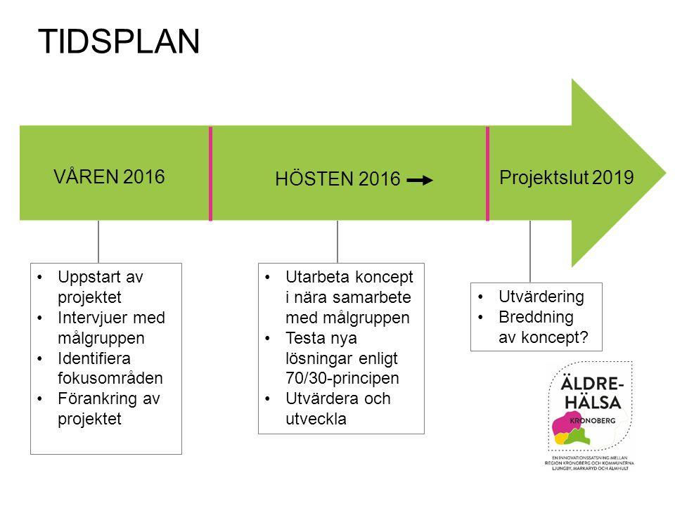 VÅREN 2016 HÖSTEN 2016 Projektslut 2019 TIDSPLAN Uppstart av projektet Intervjuer med målgruppen Identifiera fokusområden Förankring av projektet Utar