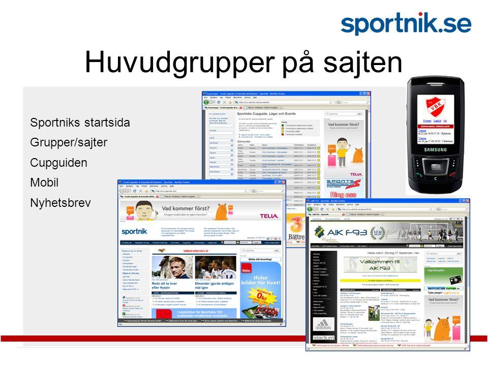 Huvudgrupper på sajten Sportniks startsida Grupper/sajter Cupguiden Mobil Nyhetsbrev