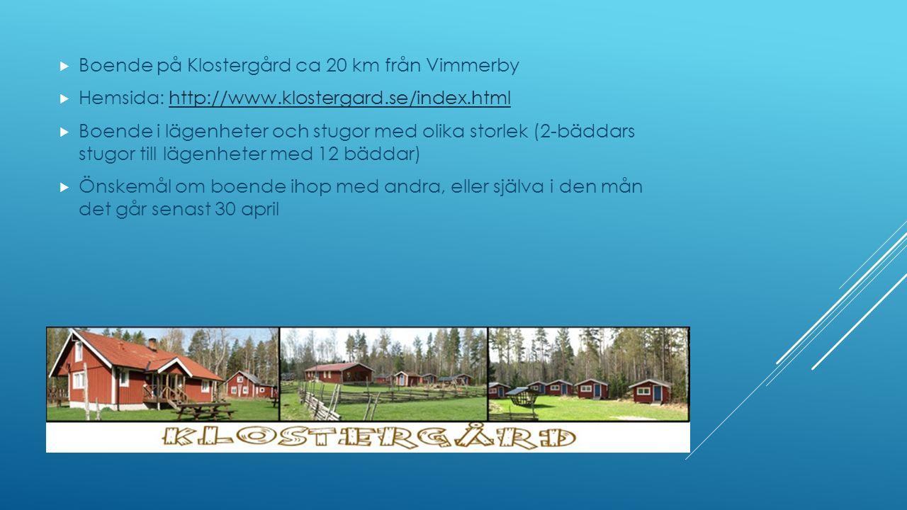  Boende på Klostergård ca 20 km från Vimmerby  Hemsida: http://www.klostergard.se/index.htmlhttp://www.klostergard.se/index.html  Boende i lägenheter och stugor med olika storlek (2-bäddars stugor till lägenheter med 12 bäddar)  Önskemål om boende ihop med andra, eller själva i den mån det går senast 30 april