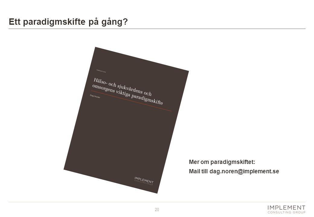 20 Ett paradigmskifte på gång Mer om paradigmskiftet: Mail till dag.noren@implement.se