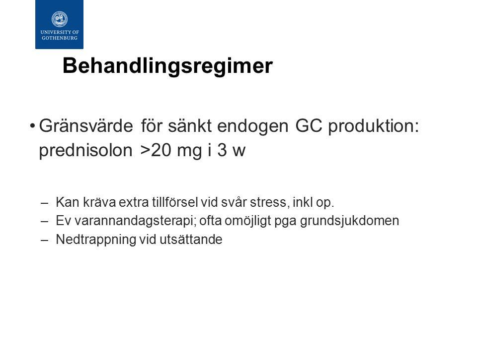 Behandlingsregimer Gränsvärde för sänkt endogen GC produktion: prednisolon >20 mg i 3 w –Kan kräva extra tillförsel vid svår stress, inkl op.