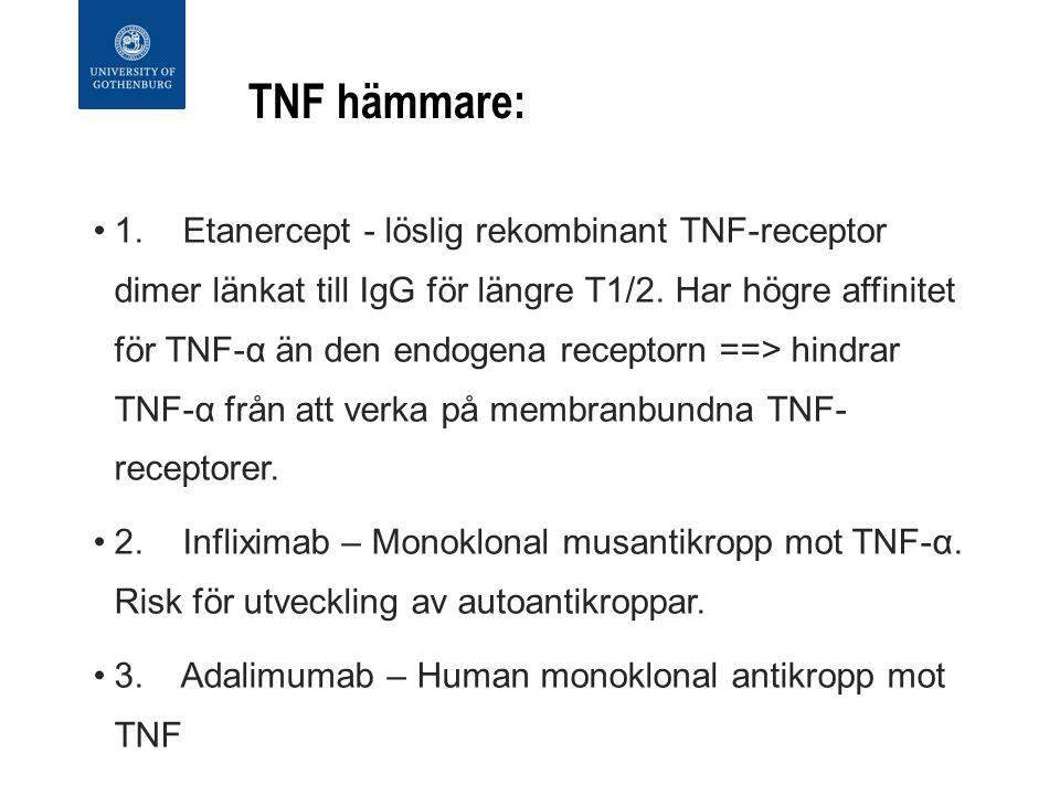 TNF hämmare: 1. Etanercept - löslig rekombinant TNF-receptor dimer länkat till IgG för längre T1/2.