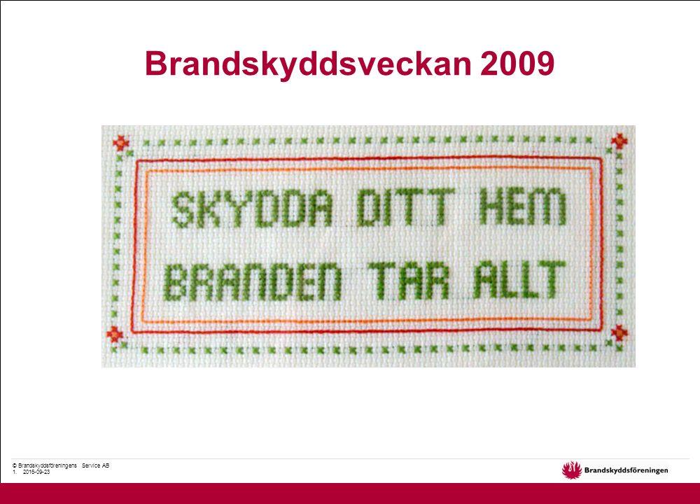 © Brandskyddsföreningens Service AB 1. 2016-09-23 Brandskyddsveckan 2009