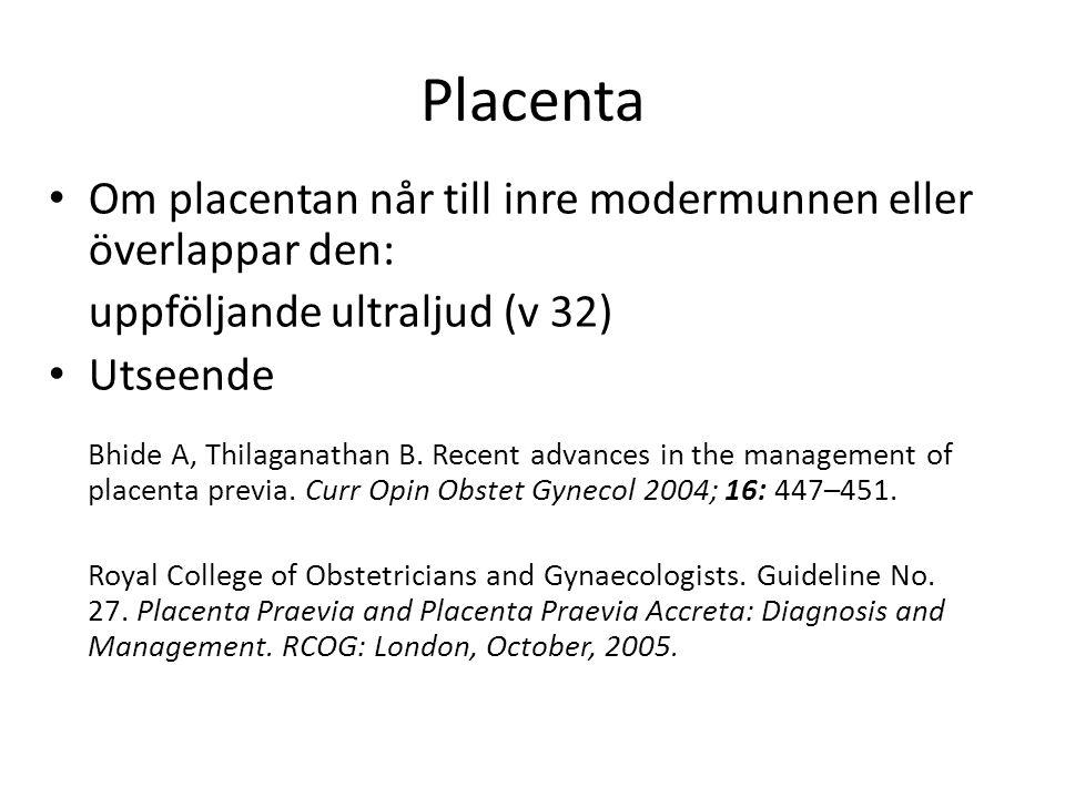 Placenta Om placentan når till inre modermunnen eller överlappar den: uppföljande ultraljud (v 32) Utseende Bhide A, Thilaganathan B.