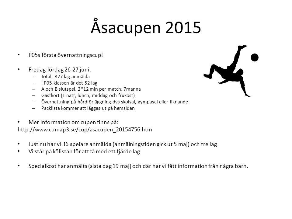 Åsacupen 2015 P05s första övernattningscup. Fredag-lördag 26-27 juni.