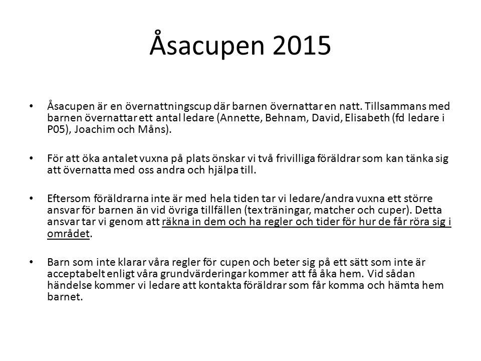 Åsacupen 2015 Åsacupen är en övernattningscup där barnen övernattar en natt.