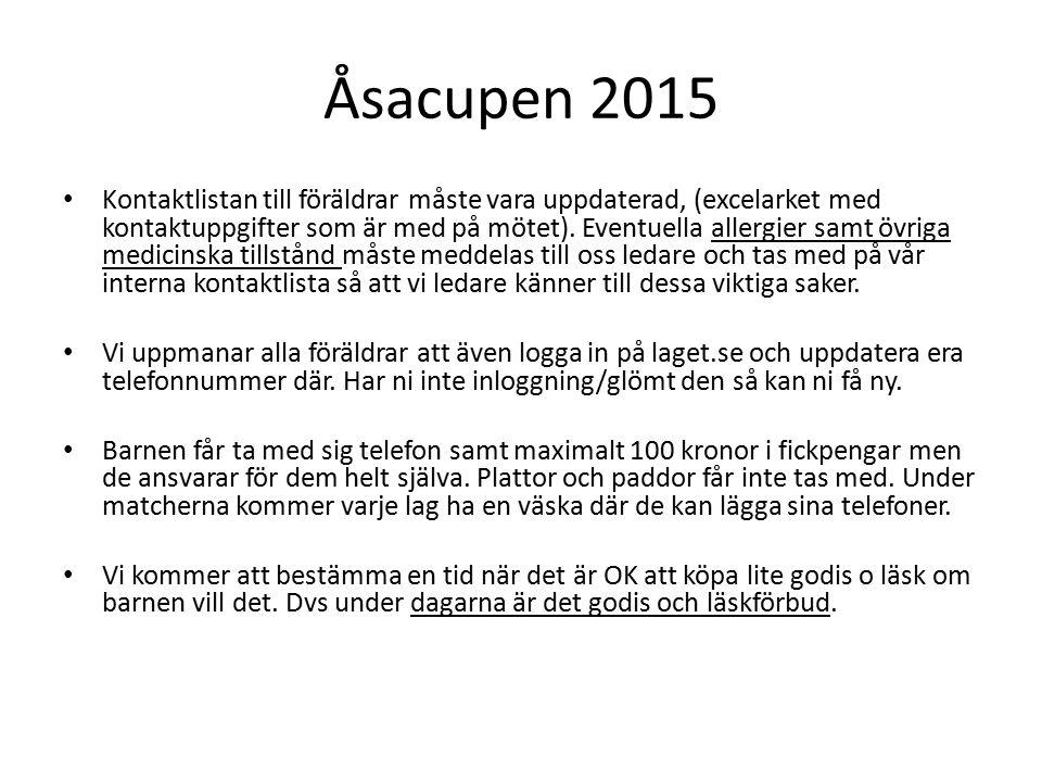 Åsacupen 2015 Kontaktlistan till föräldrar måste vara uppdaterad, (excelarket med kontaktuppgifter som är med på mötet).