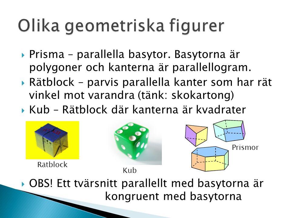  Prisma – parallella basytor. Basytorna är polygoner och kanterna är parallellogram.