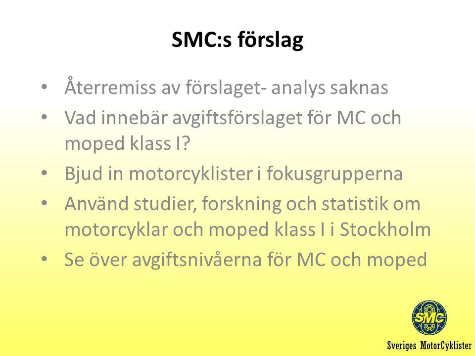 SMC:s förslag Återremiss av förslaget- analys saknas Vad innebär avgiftsförslaget för MC och moped klass I.