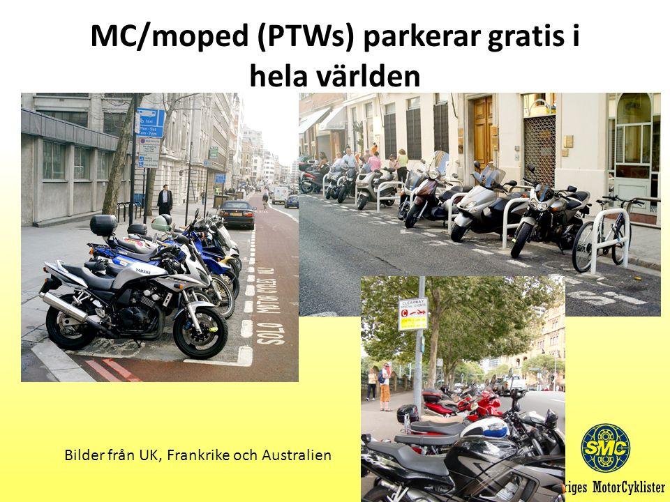 MC/moped (PTWs) parkerar gratis i hela världen Bilder från UK, Frankrike och Australien