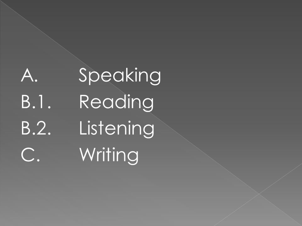 A.Speaking B.1. Reading B.2. Listening C. Writing