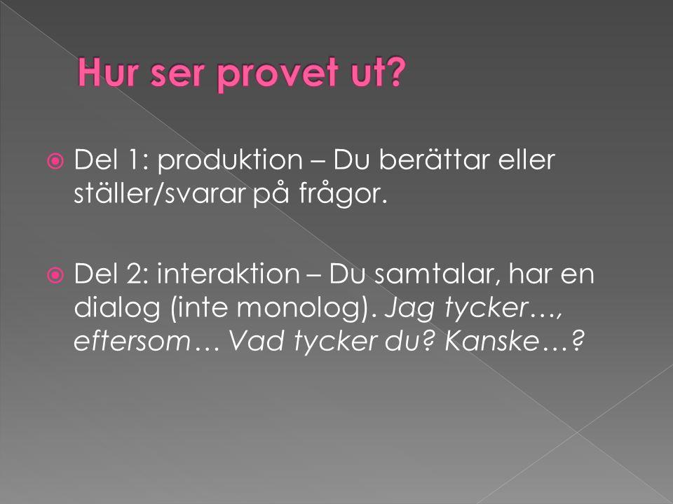 Del 1: produktion – Du berättar eller ställer/svarar på frågor.