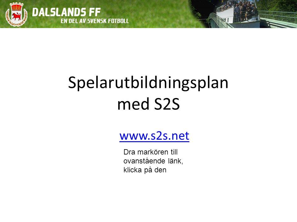 Spelarutbildningsplan med S2S www.s2s.net Dra markören till ovanstående länk, klicka på den