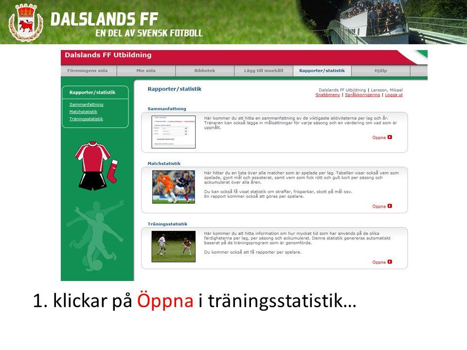 1. klickar på Öppna i träningsstatistik…