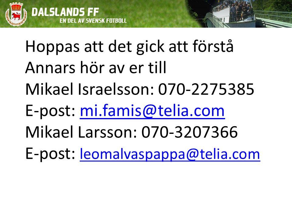 Hoppas att det gick att förstå Annars hör av er till Mikael Israelsson: 070-2275385 E-post: mi.famis@telia.com Mikael Larsson: 070-3207366 E-post: leomalvaspappa@telia.commi.famis@telia.com leomalvaspappa@telia.com
