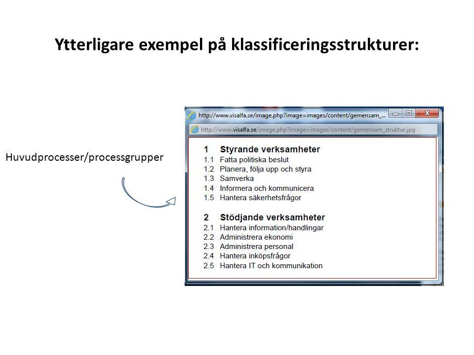 Ytterligare exempel på klassificeringsstrukturer: Huvudprocesser/processgrupper