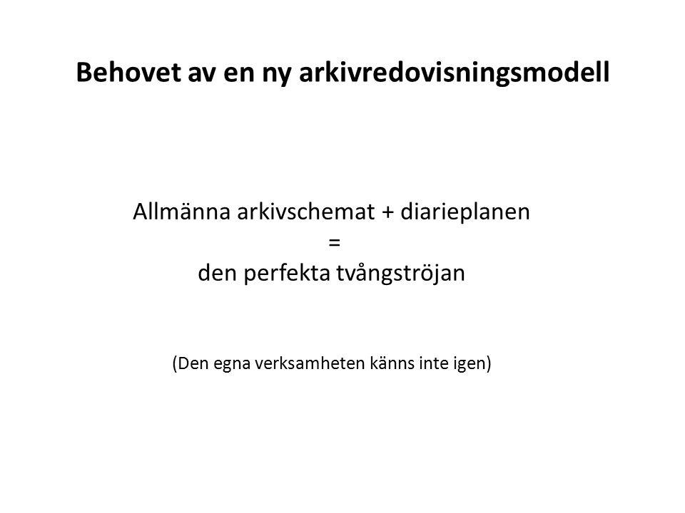 Behovet av en ny arkivredovisningsmodell Allmänna arkivschemat + diarieplanen = den perfekta tvångströjan (Den egna verksamheten känns inte igen)