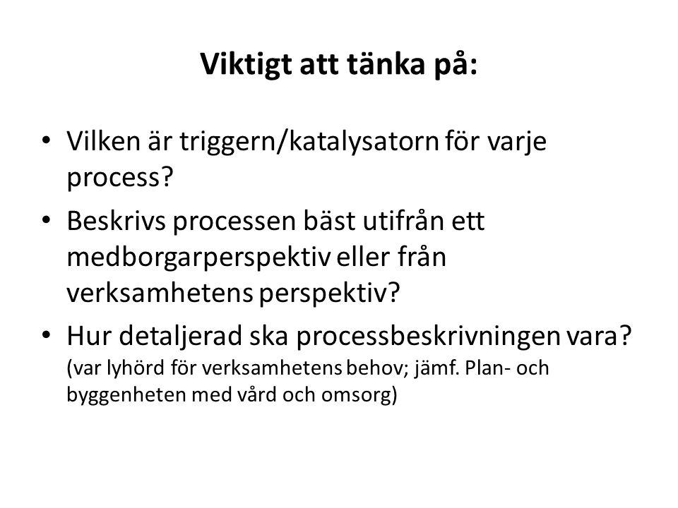 Viktigt att tänka på: Vilken är triggern/katalysatorn för varje process? Beskrivs processen bäst utifrån ett medborgarperspektiv eller från verksamhet