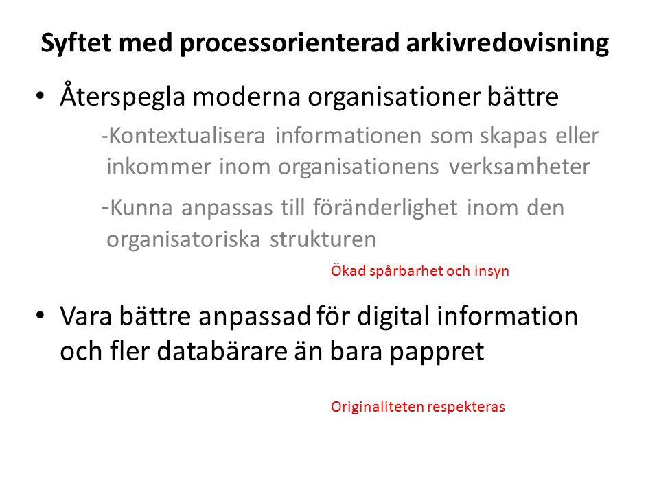 Syftet med processorienterad arkivredovisning Återspegla moderna organisationer bättre -Kontextualisera informationen som skapas eller inkommer inom o