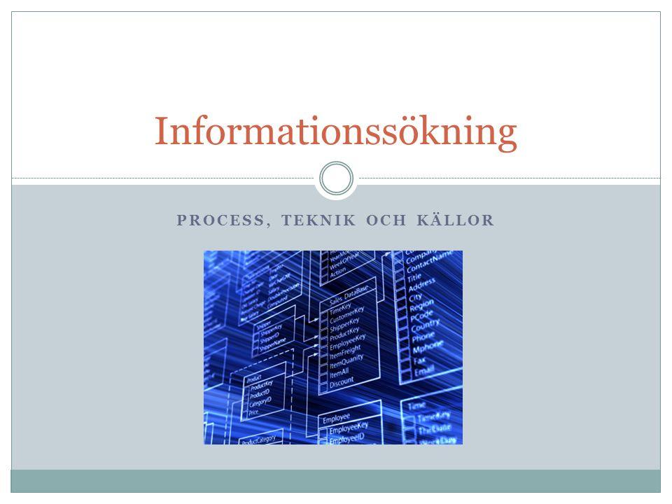 PROCESS, TEKNIK OCH KÄLLOR Informationssökning