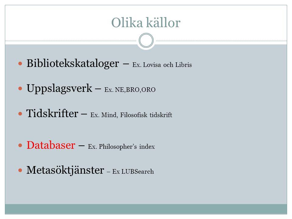 Olika källor Bibliotekskataloger – Ex.Lovisa och Libris Uppslagsverk – Ex.