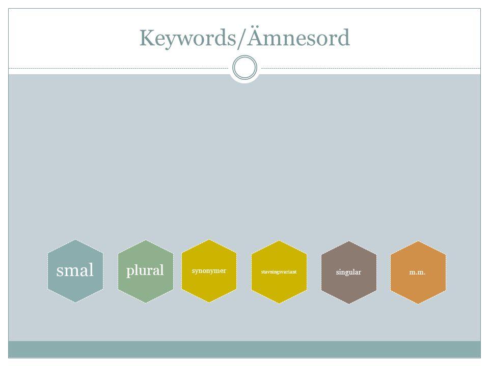 Keywords/Ämnesord synonymer smal singular plural m.m. stavningsvariant