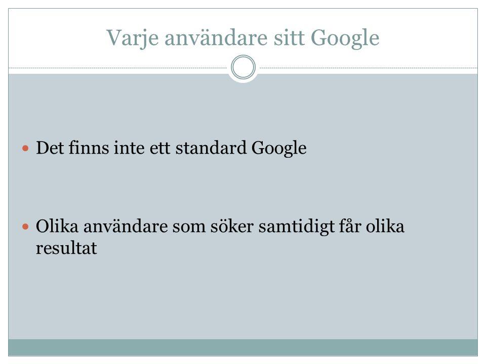 Varje användare sitt Google Det finns inte ett standard Google Olika användare som söker samtidigt får olika resultat