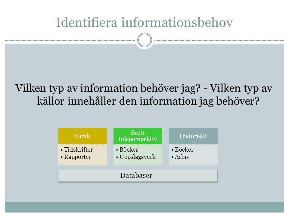 Identifiera informationsbehov Vilken typ av information behöver jag.