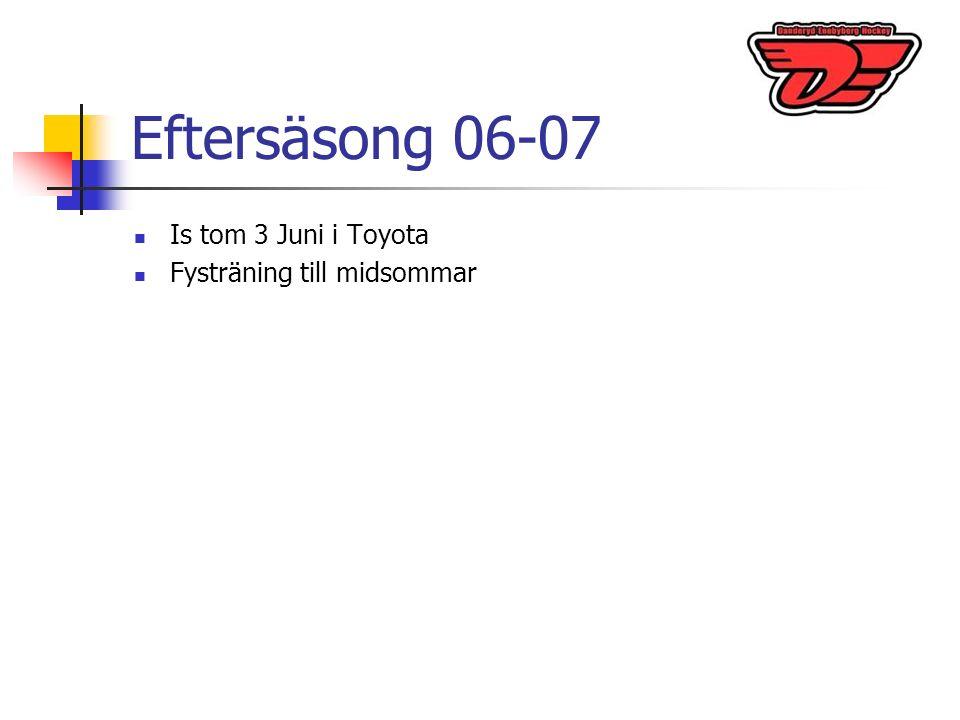 Eftersäsong 06-07 Is tom 3 Juni i Toyota Fysträning till midsommar
