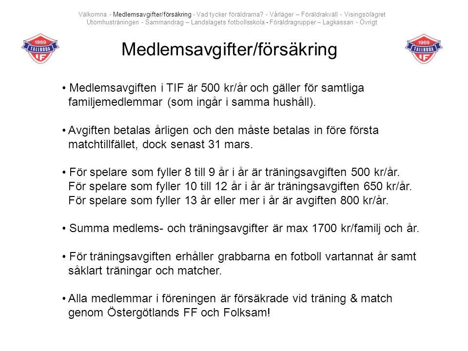 Medlemsavgifter/försäkring Medlemsavgiften i TIF är 500 kr/år och gäller för samtliga familjemedlemmar (som ingår i samma hushåll).