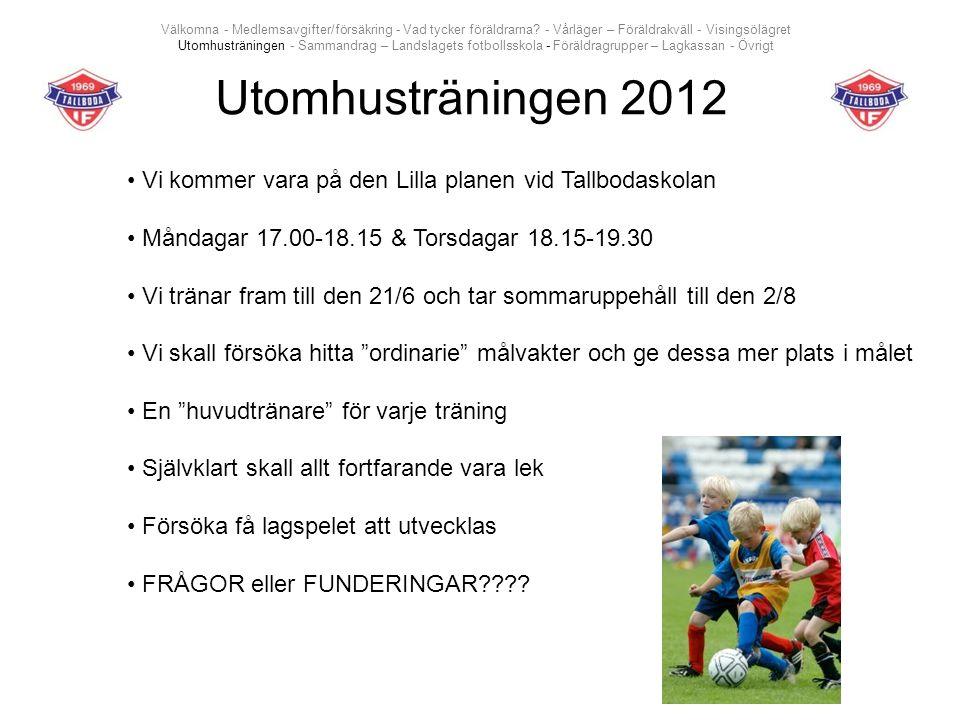 Utomhusträningen 2012 Vi kommer vara på den Lilla planen vid Tallbodaskolan Måndagar 17.00-18.15 & Torsdagar 18.15-19.30 Vi tränar fram till den 21/6 och tar sommaruppehåll till den 2/8 Vi skall försöka hitta ordinarie målvakter och ge dessa mer plats i målet En huvudtränare för varje träning Självklart skall allt fortfarande vara lek Försöka få lagspelet att utvecklas FRÅGOR eller FUNDERINGAR .