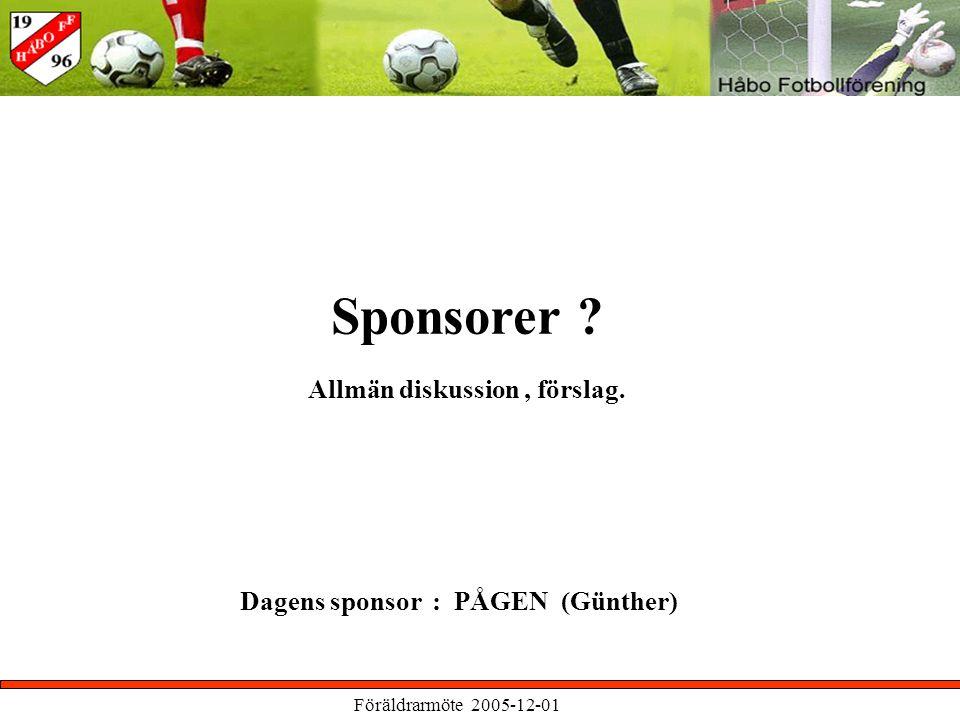Föräldrarmöte 2005-12-01 Sponsorer Dagens sponsor : PÅGEN (Günther) Allmän diskussion, förslag.
