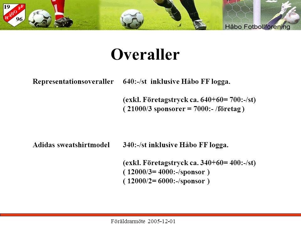 Föräldrarmöte 2005-12-01 Overaller Representationsoveraller 640:-/st inklusive Håbo FF logga.