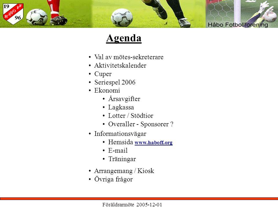 Föräldrarmöte 2005-12-01 Agenda Val av mötes-sekreterare Aktivitetskalender Cuper Seriespel 2006 Ekonomi Årsavgifter Lagkassa Lotter / Stödtior Overaller - Sponsorer .