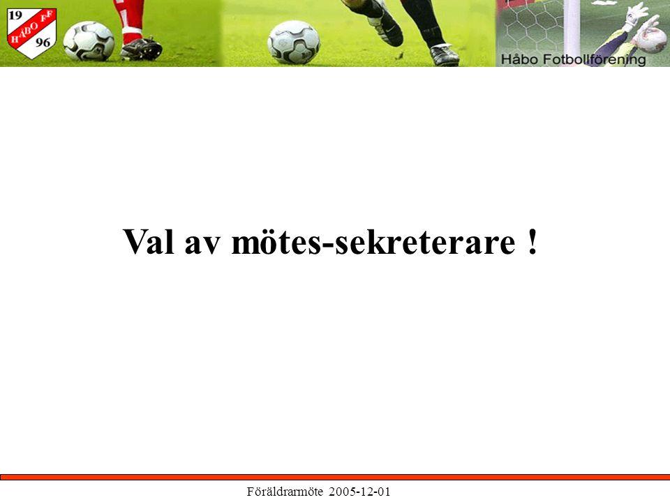 Föräldrarmöte 2005-12-01 Val av mötes-sekreterare !