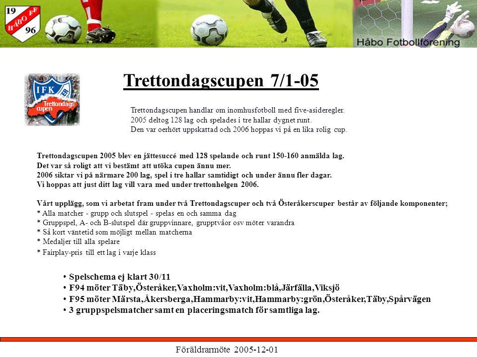 Föräldrarmöte 2005-12-01 Trettondagscupen 7/1-05 Trettondagscupen handlar om inomhusfotboll med five-asideregler.
