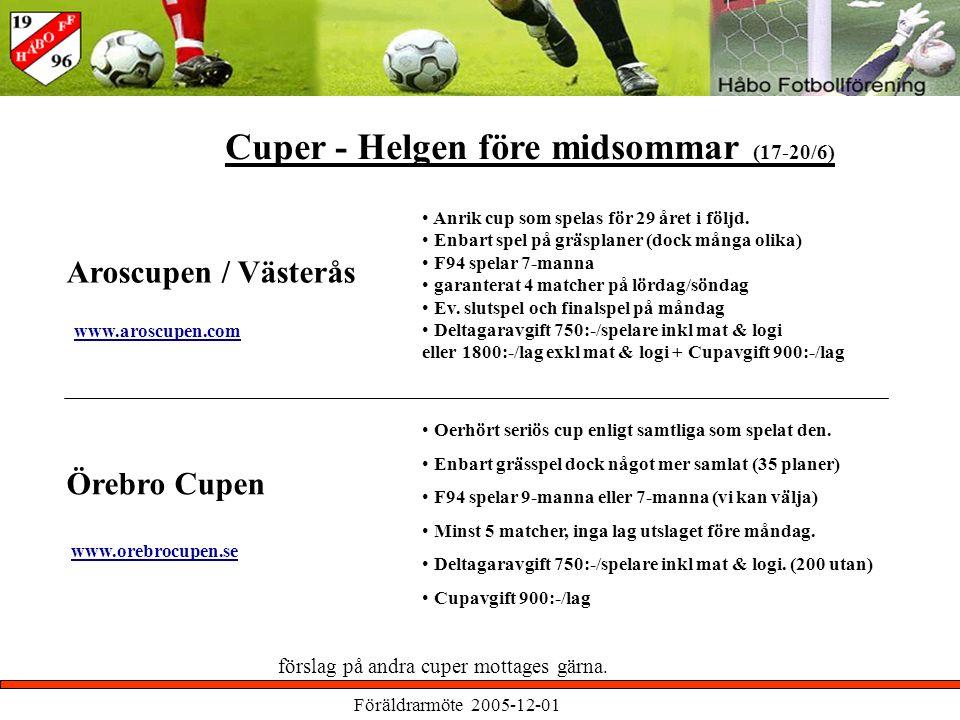Föräldrarmöte 2005-12-01 Aroscupen / Västerås Cuper - Helgen före midsommar (17-20/6) förslag på andra cuper mottages gärna.