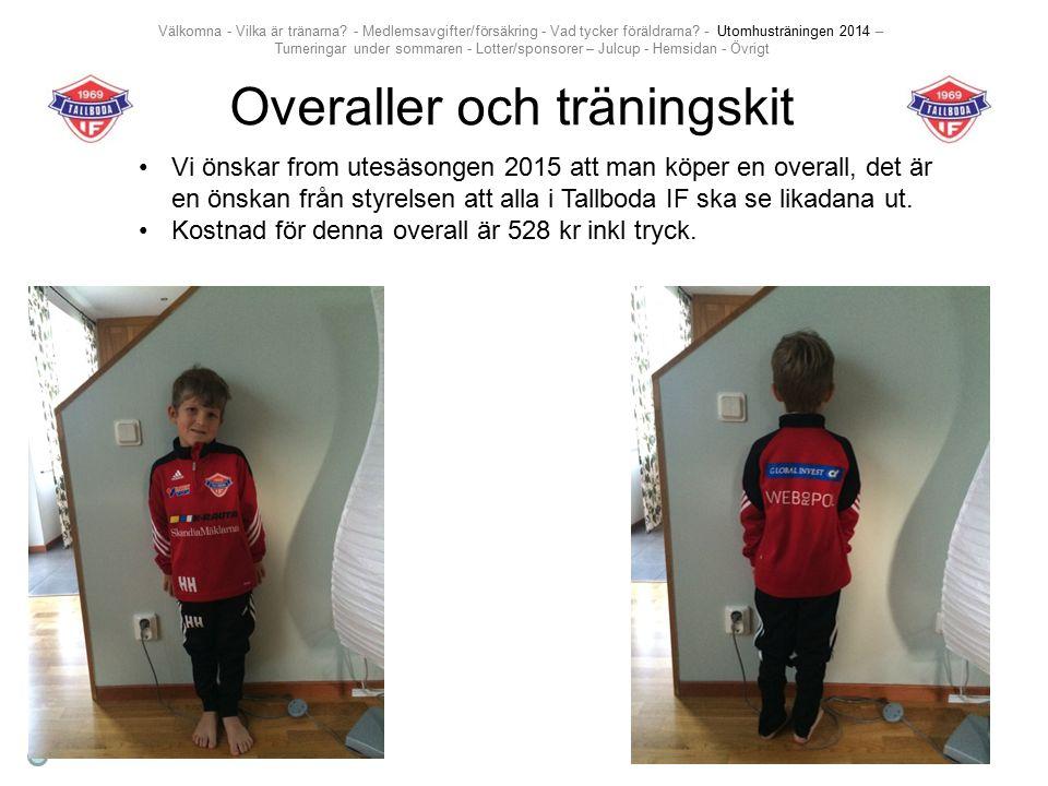 Overaller och träningskit Vi önskar from utesäsongen 2015 att man köper en overall, det är en önskan från styrelsen att alla i Tallboda IF ska se likadana ut.