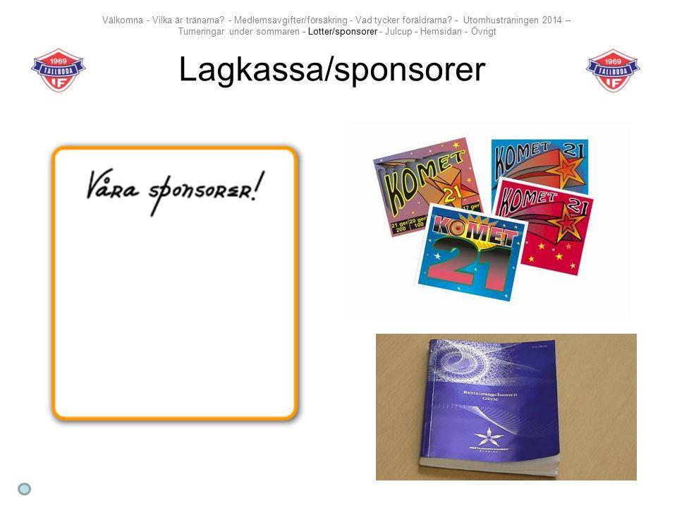 Lagkassa/sponsorer Välkomna - Vilka är tränarna.