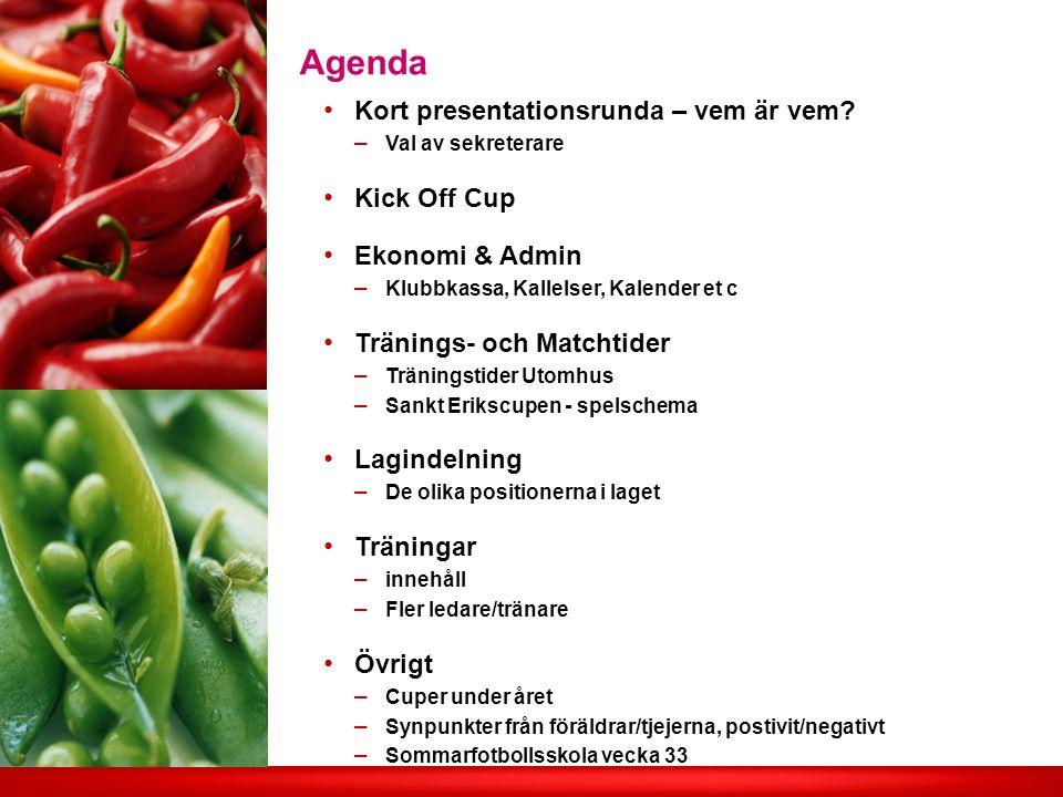 Agenda Kort presentationsrunda – vem är vem.
