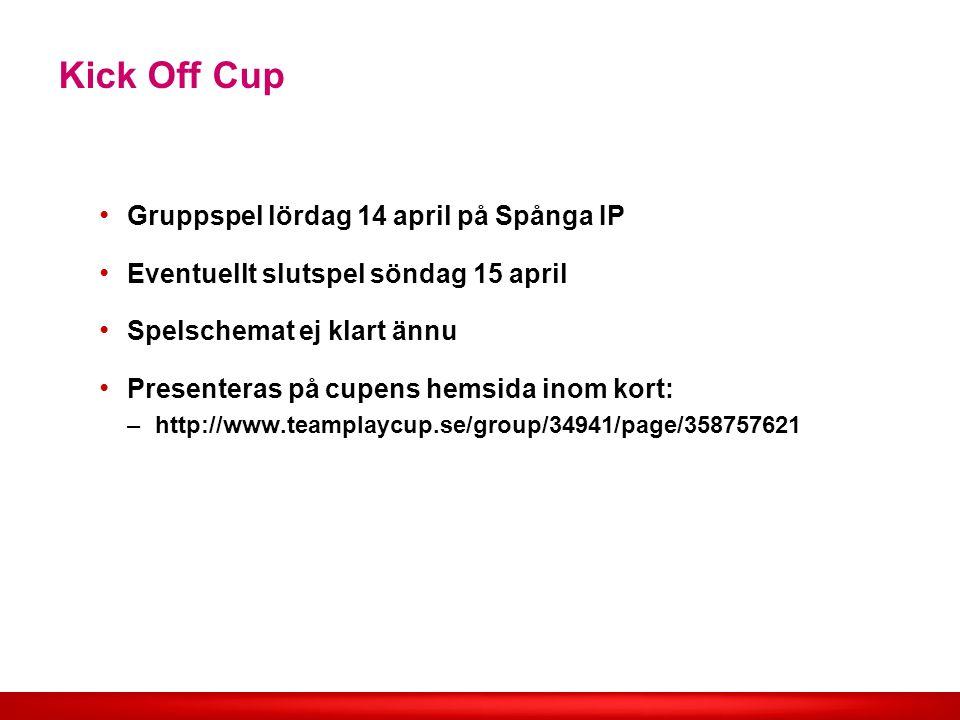Kick Off Cup Gruppspel lördag 14 april på Spånga IP Eventuellt slutspel söndag 15 april Spelschemat ej klart ännu Presenteras på cupens hemsida inom kort: –http://www.teamplaycup.se/group/34941/page/358757621